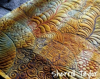 Zentangle Art, Doodle Quilt, Graffiti Quilt, Table Runner, 13W X 42 L, Wall Hanging, Bed Runner Made to Order, Graffiti Quilt, Doodle Quilts