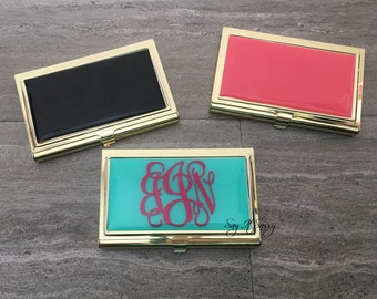 Business Card Case - Business Card Holder - Gold Business Card Case - Personalized Business Card Holder - Mint Business Card Case
