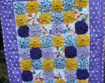 Handcrafted  Doll Size Yoyo Quilt Tied Purple Blue Yellow Play Table Mat Wall Quilt Security Blanket