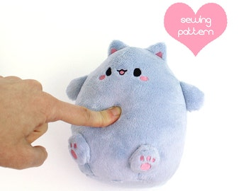 PDF sewing pattern - Kawaii Cat Puff plushie - easy cute cuddly stuffed animal anime plush toy handheld 6""