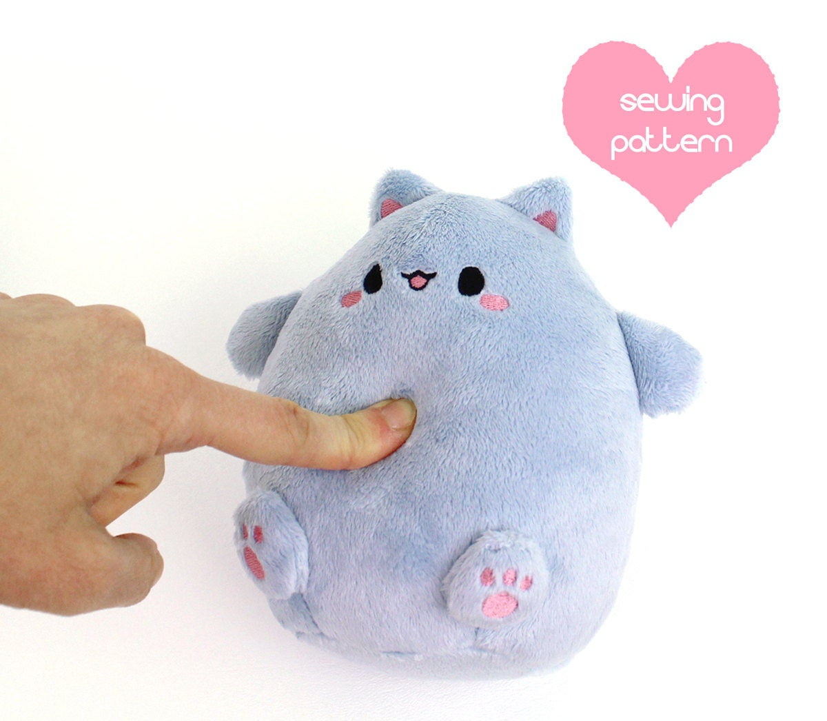 Pdf sewing pattern kawaii cat puff plushie easy cute for Sewing templates for stuffed animals