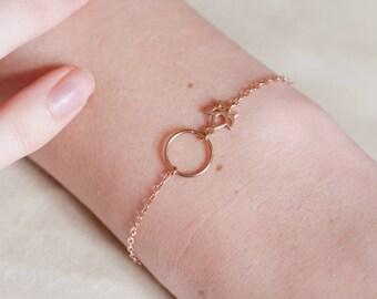 Lotus Hoop Rose Gold Bracelet