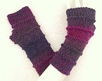 Knit Fingerless Gloves, Fingerless Mitts, Hand Warmers, Purple Gloves, in Purled Bands Orchid Wine, FG-PB105
