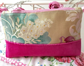 pink velvet and embroidered zipper pouch, makeup bag, purse, unique gift