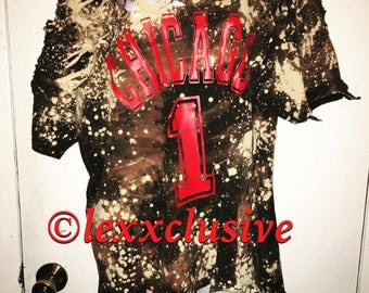 Distressed Bleached Ripped Destroyed Tee Hiphop Fashion Chicago Bulls