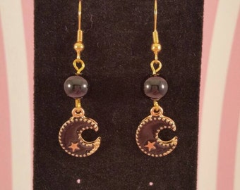 Black or white Crescent moon with gold star earrings with gold findings and glass pearls handmade