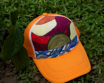 Sunset Surf Hand Painted Trucker Hat