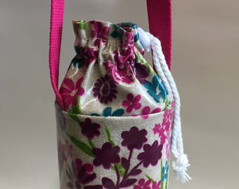 Insulated water bottle bag,festival bag,insulated bottle bag,pink flowered oilcloth