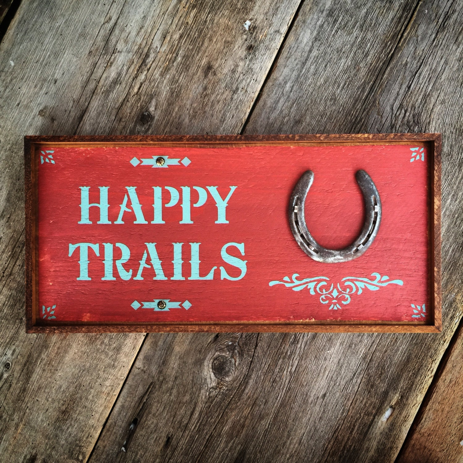 happy trails sign western home decor country signs horse