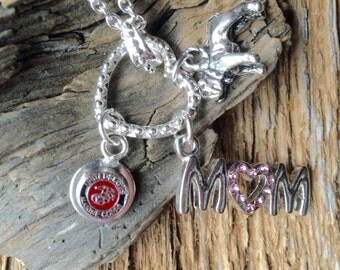 United States Marines Mom necklace with bulldog and UC charm: USMC Mom necklace in silver with bulldog mascot and eagle globe anchor charm