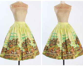 Vintage 1950s 50s original John Wolf novelty fox hunting print skirt border scenic UK 8 10 US 4 6 S