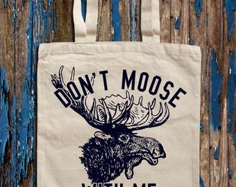 Moose Print Canvas Tote Bag