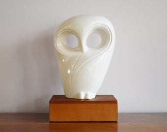 Modernist White Owl Statue on Wood Base, Sleek Abstract Owl Bookend, Weighted Owl Figurine