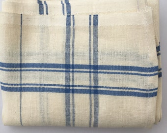 French Linen Tea Towels, Cream and Blue Stripe, Woven Linen, Bistro Style Tea Towels, Brand New