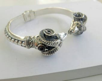 Ram head bracelet with garnets traditional in silver