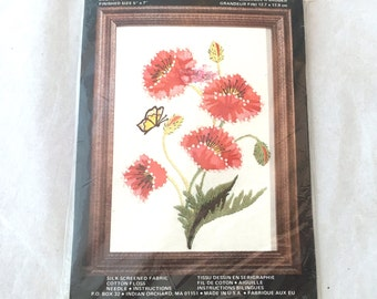Charmin Red Poppies Embroidery Kit, Red Flowers Needlepoint, Embroidery, Needlepoint Pattern, Floral Embroidery Kit, Poppy Butterfly