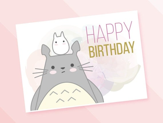 Totoro Happy birthdays card My neighbor Totoro PDF – Totoro Birthday Card