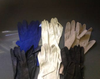 Vintage leather gloves - assorted colors and styles - small