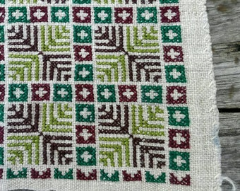 Hmong embroidery on hemp fabric embroidered hill tribe hemp textile (H128)