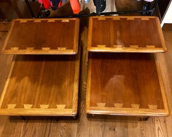 Pair of Mid Century Modern Two-Tiered / Two Tone End Tables by Lane - PICK UP ONLY