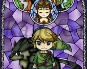 Twilight Princess stained glass style HOLOGRAPHIC coated poster (11x17)