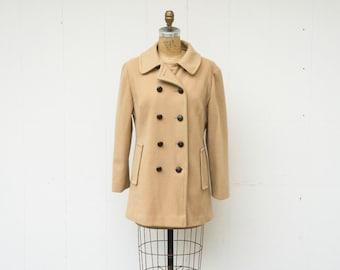 VINTAGE 1960s Classic Tan Wool Peacoat | Double Breasted Overcoat | Tailored Long Coat | Minimal Wool Coat | Womens Winter Coat
