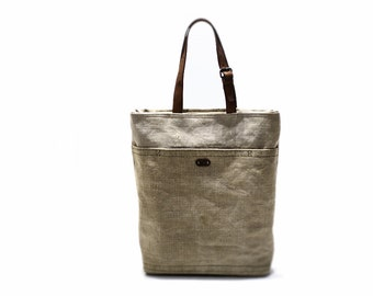 Canvas tote bag with leather handles, tote bag with pocket, recycled bag