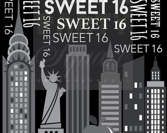 New York party backdrop, 16th Birthday,  Glam  Party, Dessert Table backdrop, City Skyline, Backdrop for girls, Milestone party decor