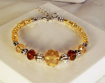 "Cynthia Lynn ""HEIRLOOM JEWELS"" Faux Golden Topaz Glass Crystal Silver Bracelet"