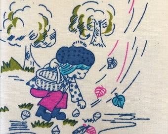 Vintage 70's Novelty print childrens cotton fabric