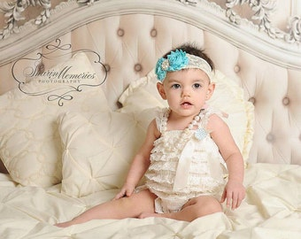 Aqua Petti Romper/Aqua Romper/Petti Romper Set/Lace Romper/Toddler Romper/Baby Lace Dress/Baby Petti Romper/Infant Petti Romper/Girl Romper