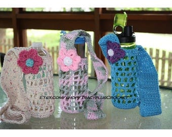 Crochet water bottle holder. Crochet water bottle sling. Water bottle carrier. Long strap. Handmade to order.