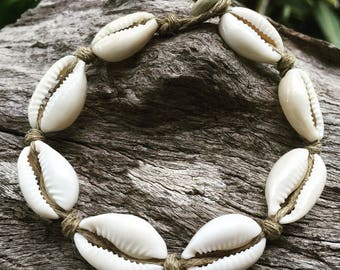 Hand Made Hemp Shell Anklet with Cowrie Shells, Small Ankle Sea Gypsy Bohemian