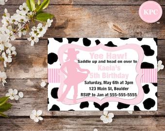 Cowgirl birthday invitation. Cowgirl invitation. Cowgirl birthday decorations. Cowgirl birthday party. Cowgirl party decoration