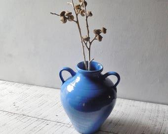 Blue Pottery Vase - Double Handle Vintage Amphora Water Jug Modern Farmhouse Gift & Decor 0648