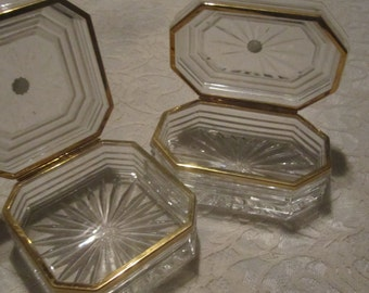 Set of Two Crystal Made in Slovakia Trinket Boxes