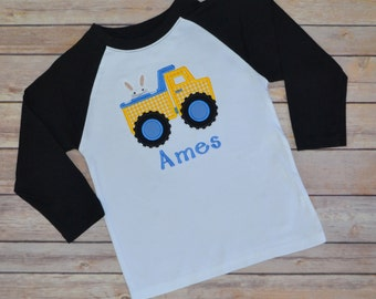 Dump truck Easter shirt,- Boy Easter shirt,- Construction Easter shirt,- Easter bunny shirt,- baby Easter shirt,-tshirt,- Easter outfit