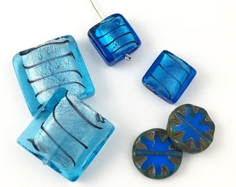 6 blue  foil and Picasso glass beads beads,18mm to 25mm #PV 142