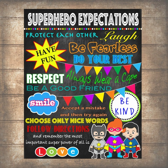 Bedroom Decor Rules superhero classroom rules poster printable instant download