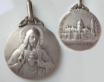 Sacred Heart of Jesus,  Antique religious medal, from Montmartre (Paris, France), brass, 0.70""