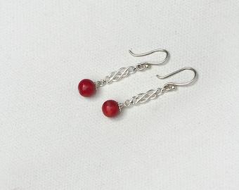 Winter Berries Red Coral Earrings