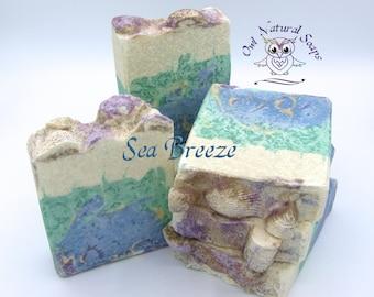 Hand made goatmilk and salt soap/natural salt soap/ocean theme salt bar/luxury artisan soap/seashell soap/homemade soap/gift soap/Sea Breeze