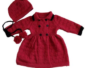 Red merino coat and hat set for girls
