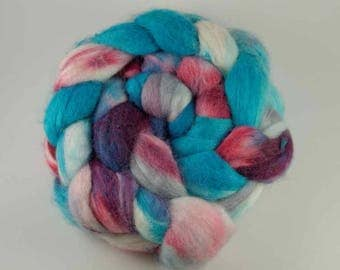 Unspun Roving - 70/30 Merino/Tussah Silk Top blend - 100 grams/3.5 ounces - Lollipop