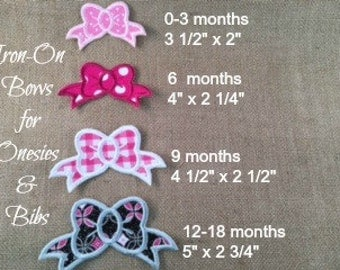 GIRLS BOW APPLIQUE Patch - Iron On, Girls Bow Patch, Baby Girl Bow, Onesie Bow Applique, Bow Applique, Name Patch, Name Patch for Girls