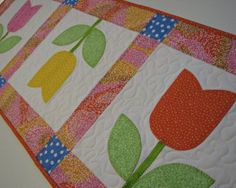 Spring Quilted Table Runner, Tulip Table Runner,  Appliqued Table Runner, Pink Yellow Orange Table Mat, Quiltsy Handmade
