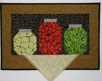 Folk Art Quilted Wall Hanging, Harvest Canning Pantry Shelf Still Life Art Quilt, Autumn Quilted Wall Hanging, Quiltsy Handmade