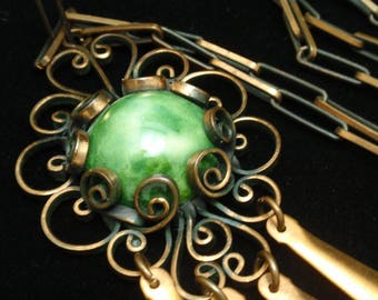Copper and Green Stone Vintage Necklace