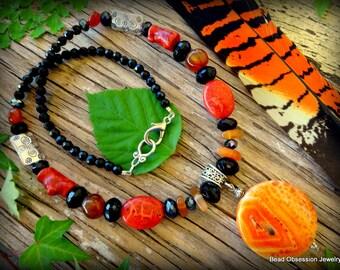 Coral Necklace; Carnelian Necklace; Fire Agate; Orange Bohemian Necklace; Orange Gemstone Necklace; Orange Boho Necklace; Australian Seller