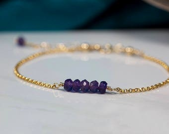Dainty amethyst bracelet, purple bracelet, delicate bracelet, bridesmaid jewelry delicate, wedding jewelry purple - Martha